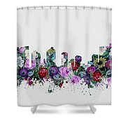 Fort Worth Skyline Floral 2 Shower Curtain