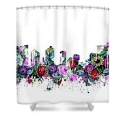 Fort Worth Skyline Floral Shower Curtain