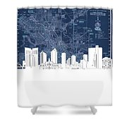 Fort Worth Skyline Map Blue Shower Curtain