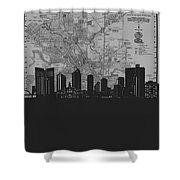Fort Worth Skyline Map Grey Shower Curtain