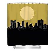 Fort Worth Skyline Minimalism Yellow Shower Curtain