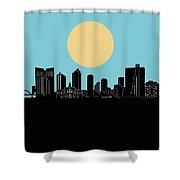 Fort Worth Skyline Minimalsim Blue Shower Curtain