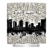 Fort Worth Skyline Music Sheet Shower Curtain