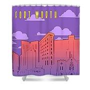 Fort Worth Skyline Panorama Purple Shower Curtain