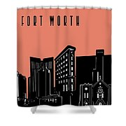 Fort Worth Skyline Panorama Red Shower Curtain