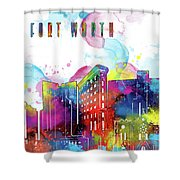 Fort Worth Skyline Panorama Watercolor 2 Shower Curtain