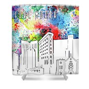 Fort Worth Skyline Panorama Watercolor Shower Curtain