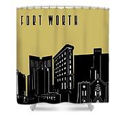 Fort Worth Skyline Panorama Yellow Shower Curtain