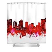 Fort Worth Skyline Red Shower Curtain