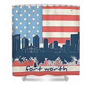Fort Worth Skyline Usa Flag Shower Curtain