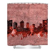 Fort Worth Skyline Vintage Red Shower Curtain