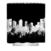 Fort Worth Skyline Watercolor Black And White 2 Shower Curtain