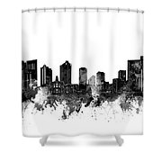Fort Worth Skyline Watercolor Black And White Shower Curtain