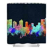 Fort Worth Skyline Watercolor Black Shower Curtain