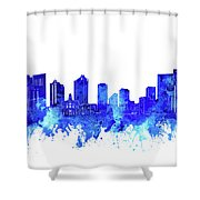 Fort Worth Skyline Watercolor Blue Shower Curtain