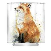 Fox Watercolor Shower Curtain
