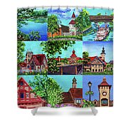 Frankenmuth Downtown Michigan Painting Collage II Shower Curtain