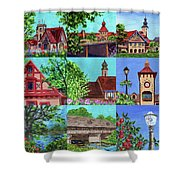 Frankenmuth Downtown Michigan Painting Collage V Shower Curtain
