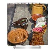 French Flea Market Pottery Shower Curtain