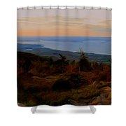 Frenchman's Bay From Cadillac Mountain Digital Photo Art Shower Curtain
