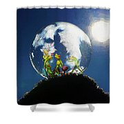 Frogs In A Bubble Shower Curtain