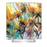 Frozen Chrysanthemums Shower Curtain