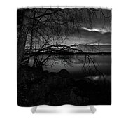 Full Moon Behind The Clouds Shower Curtain