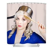 Funny Pin Up Housewife Saluting For Cooking Duties Shower Curtain