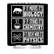 Funny Science Teacher Shirt Physics Chemistry And Biology Meme Shower Curtain