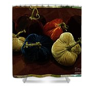 Fuzzy Pumpkins Shower Curtain