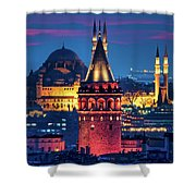 Galata Tower And Suleymaniye Mosque Shower Curtain