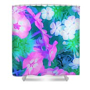 Garden Flowers In Pink, Green And Blue Shower Curtain