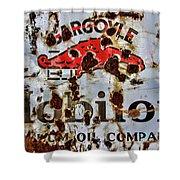Gargoyle Mobiloil Vacuum Oil Co Rusty Sign Shower Curtain