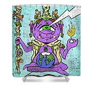 Gautama Buddha Colour Illustration Shower Curtain