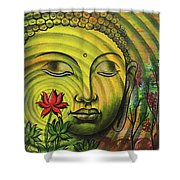 Gautama Buddha Ripple Effect Portrait Shower Curtain