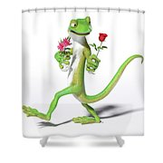 Gecko In Love Shower Curtain