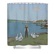 Geese By The River Loing 02 Shower Curtain