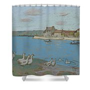 Geese By The River Loing 03 Shower Curtain