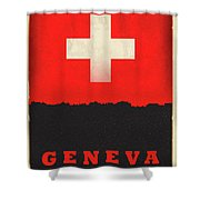 Geneva Switzerland World City Flag Skyline Shower Curtain