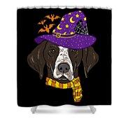 German Shorthair Halloween Witch Hat Flying Bats Shower Curtain