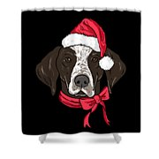 German Shorthair Xmas Hat Dog Lover Christmas Shower Curtain