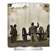 Gettysburg Battlefield - Confederate Artillerymen Firing Cannon Shower Curtain