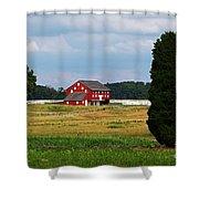 Red Barn On Sherfy Farm Gettysburg Shower Curtain