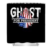 Ghost Elected Cute Halloween Spirit In American Flag Dark Shower Curtain