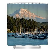 Gig Harbor Marina With Mount Rainier In The Background Shower Curtain
