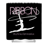 Girl Competing In Female Rhythmic Gymnastics Jumping With A Ribbon Shower Curtain