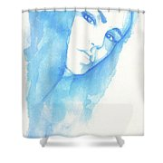 Girl In Blue Shower Curtain