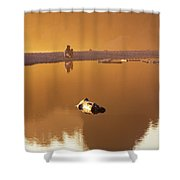 Girl On A Beach With A Camera Shower Curtain by Kyle Lee