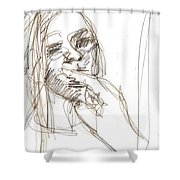 Girl Portrait Drawing Shower Curtain