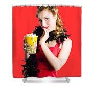 Glamorous Woman Holding Popcorn Shower Curtain